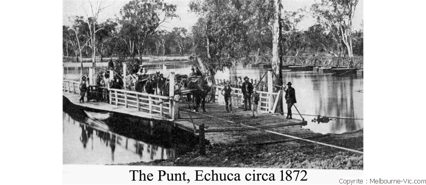 Old punt at Echuca circa 1860